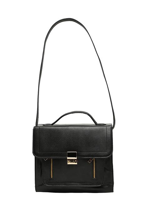 Black Zipped Thru Satchel Bag
