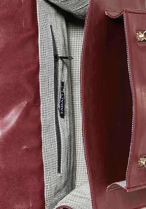 Berry Zipped Thru Satchel Bag