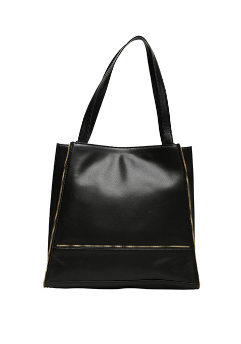 Black Zipped Shopper Bag