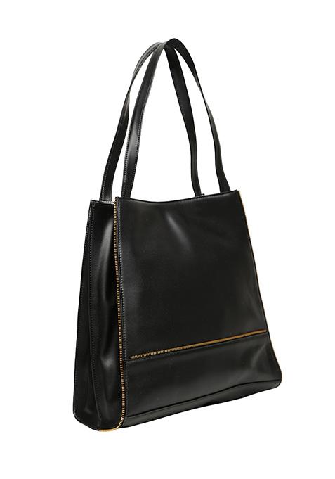 Black Zipped Shopper Bag
