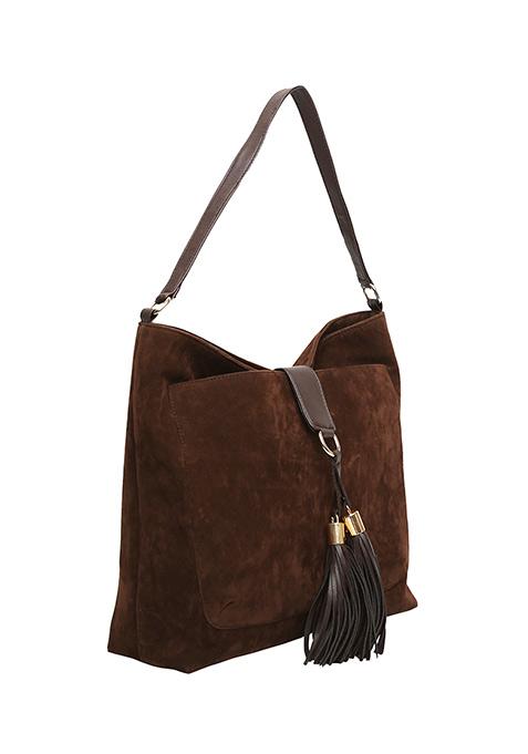 Brown Suede Slouchy Hobo Bag