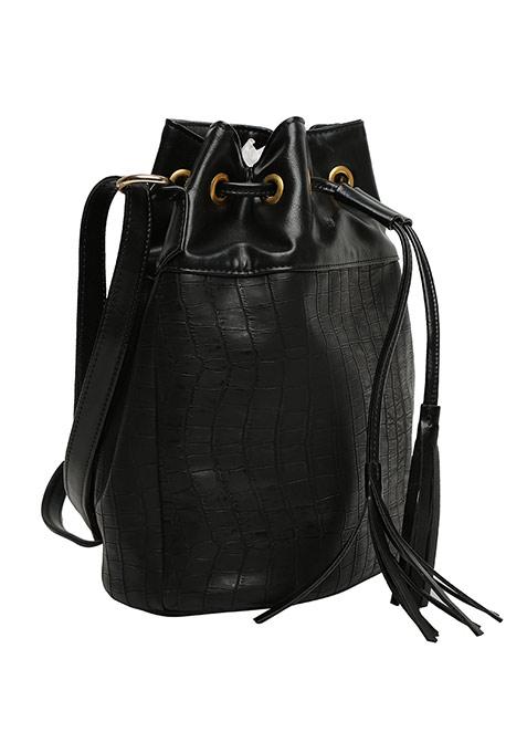Black Drawstring Bucket Bag