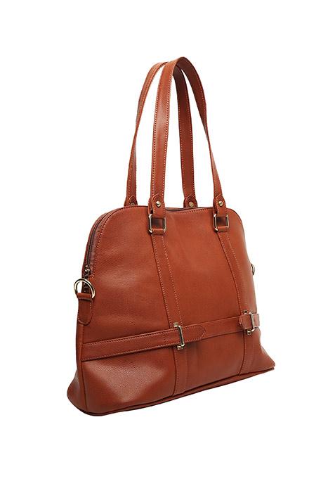 Tan Buckled Tote Bag