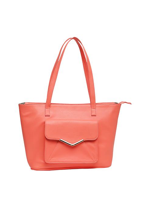 Utilitarian Tote Bag - Coral