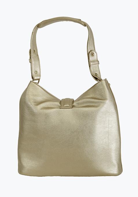 Gold Slouchy Shoulder Bag