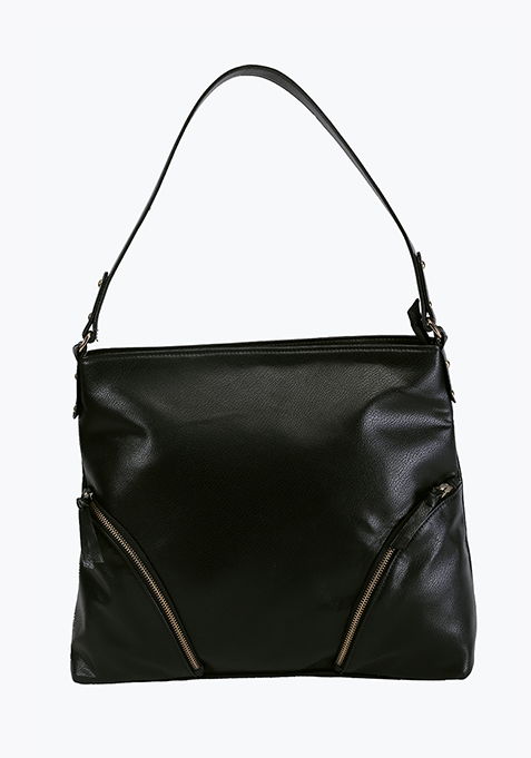 Black Zip Detail Shoulder Bag