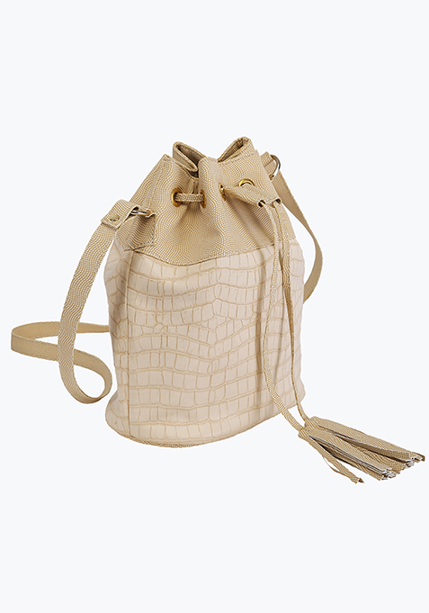 Beige Croco Bucket Bag