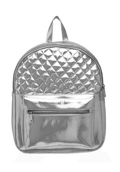Silver Quilted Backpack