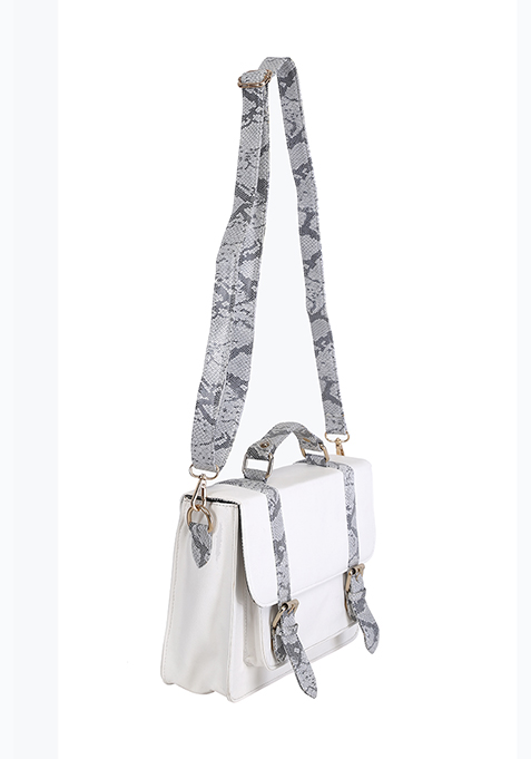 White Python Satchel Bag