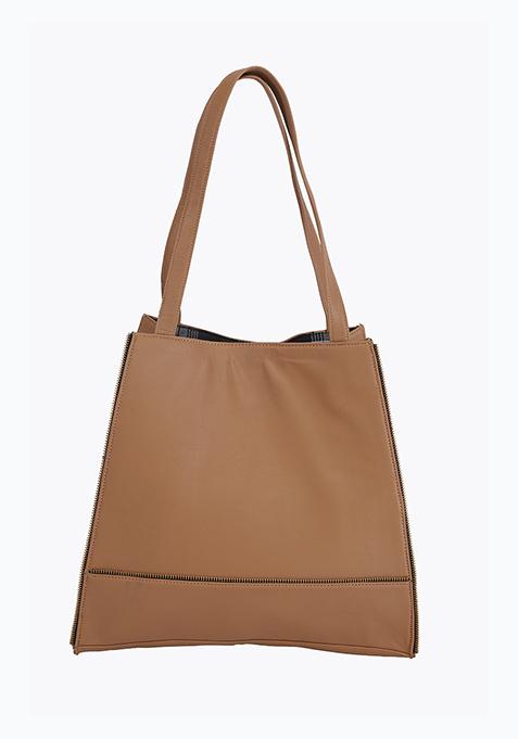 Beige Zipped Shopper Bag