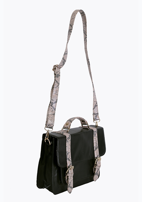 Black Python Satchel Bag
