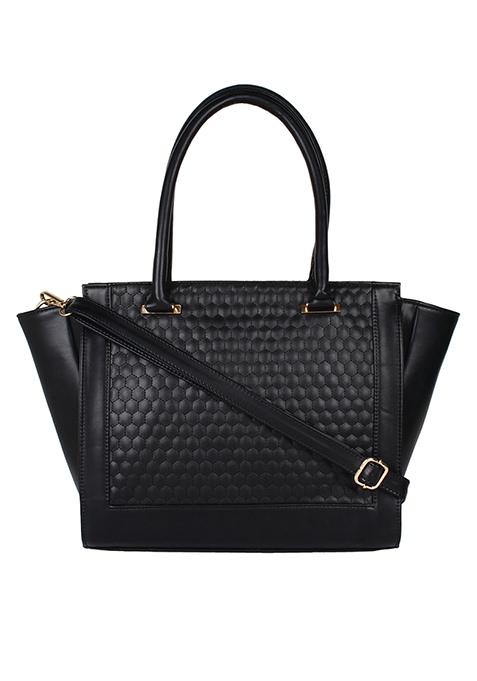 Embossed Trapeze Handbag - Black