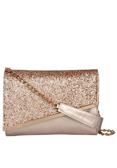 Sequin Mini Shoulder Bag - Gold