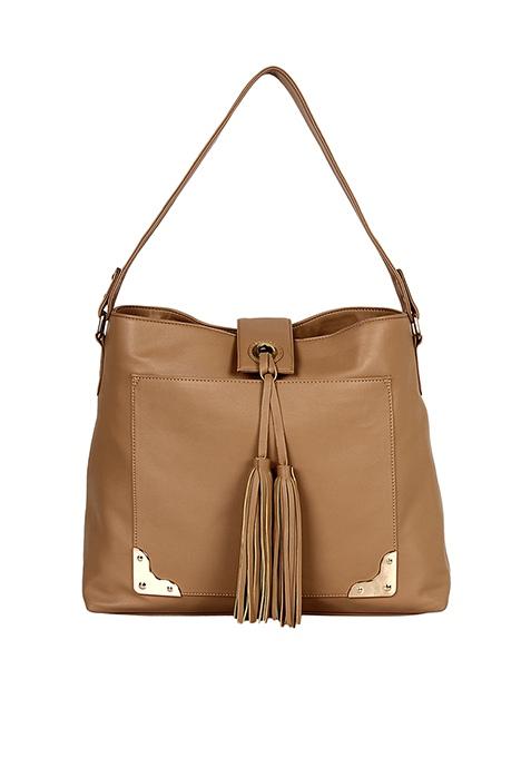 Tassel Beige Hobo Bag