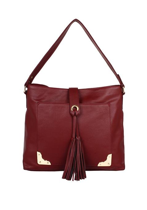 Tassel Oxblood Hobo Bag