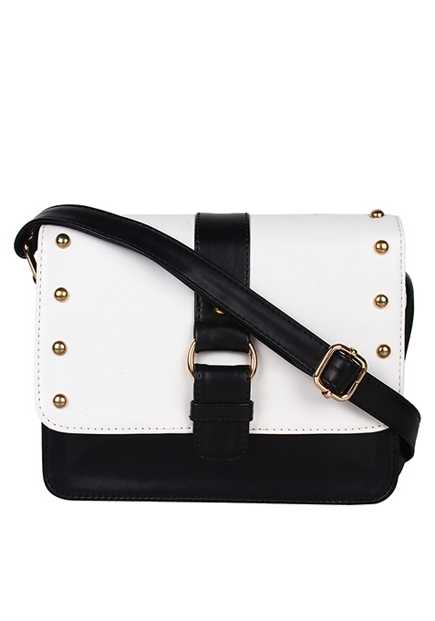 Studded Mini Messenger Bag - Black