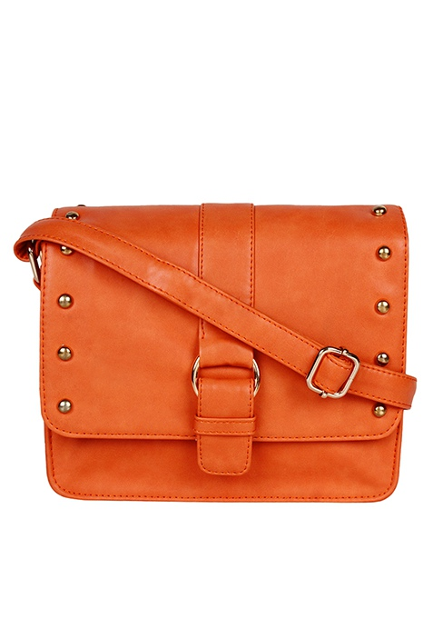 Studded Mini Messenger Bag - Orange