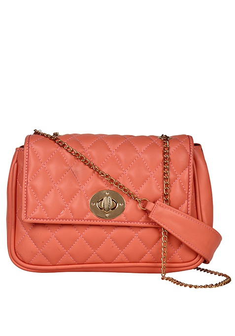 Quilted Sling Bag - Peach