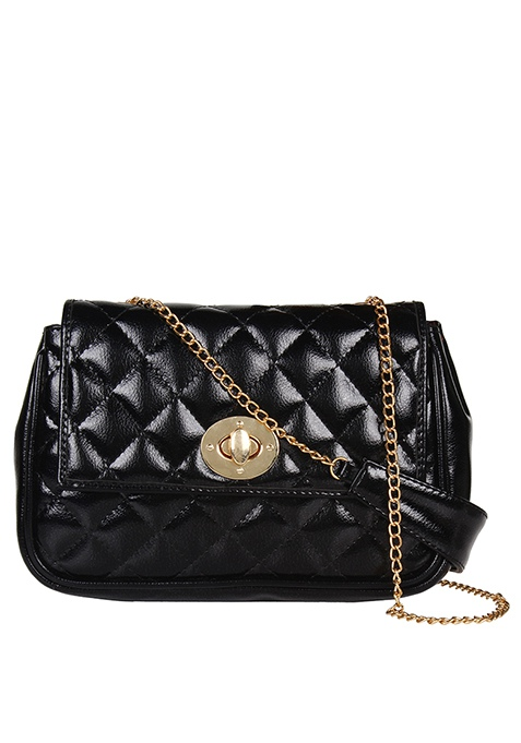 Glossy Quilted Sling Bag - Black