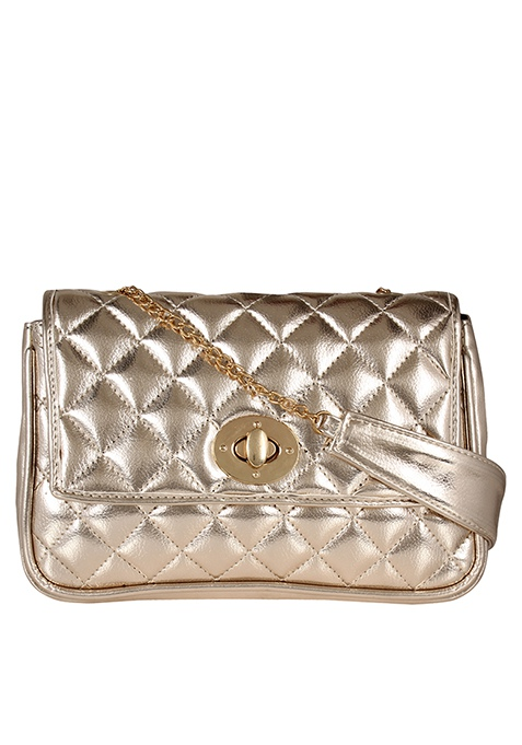 Glossy Quilted Sling Bag - Gold
