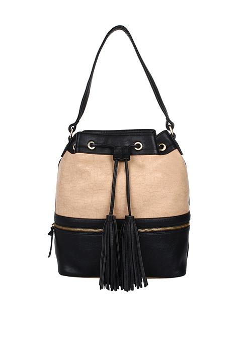 Black Beige Bucket Bag