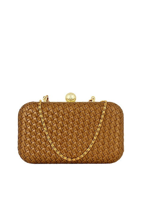 Brown Quilted Box Clutch
