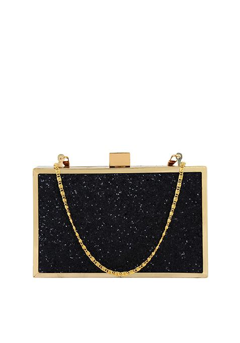 Glitter Glam Boxy Clutch - Black