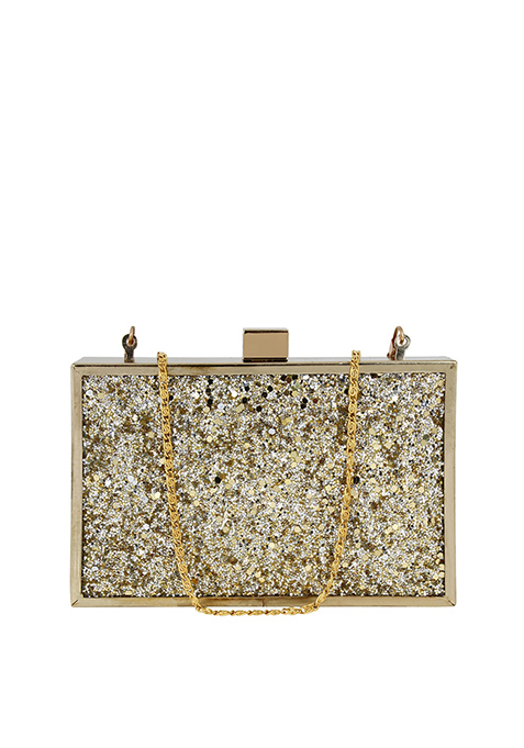 Glitter Glam Boxy Clutch - Gold