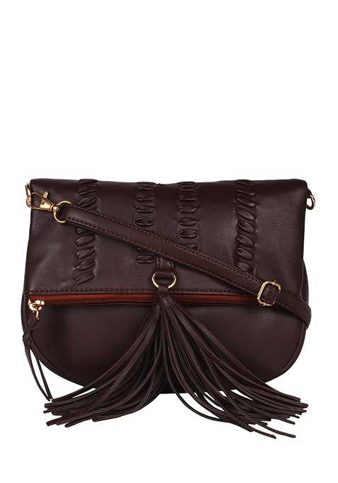 Tasseled Sling Bag - Brown