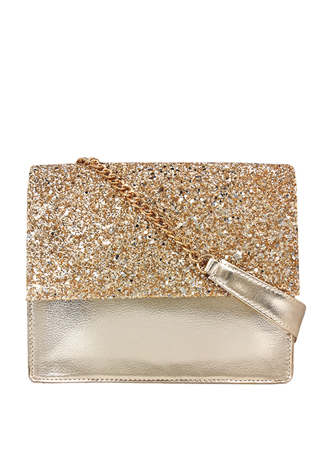 Glitter Flap Bag - Gold