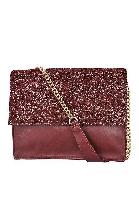 Glitter Flap Bag - Oxblood