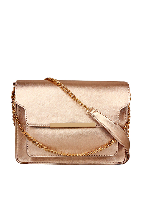 Layered Chain Flap Bag - Rose Gold