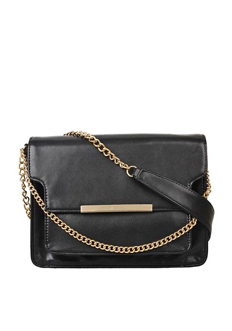 Layered Chain Flap Bag - Black