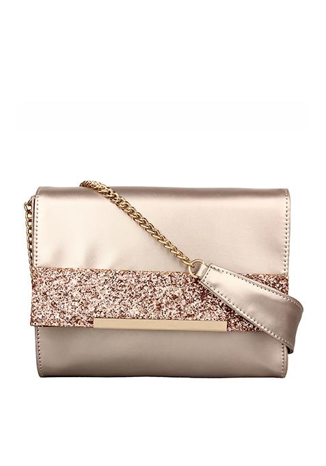 Glitter Trim Flap Bag - Rose Gold