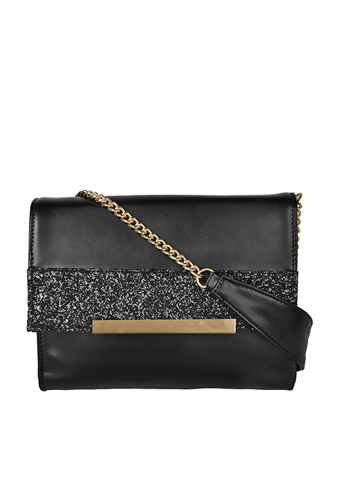 Glitter Trim Flap Bag - Black