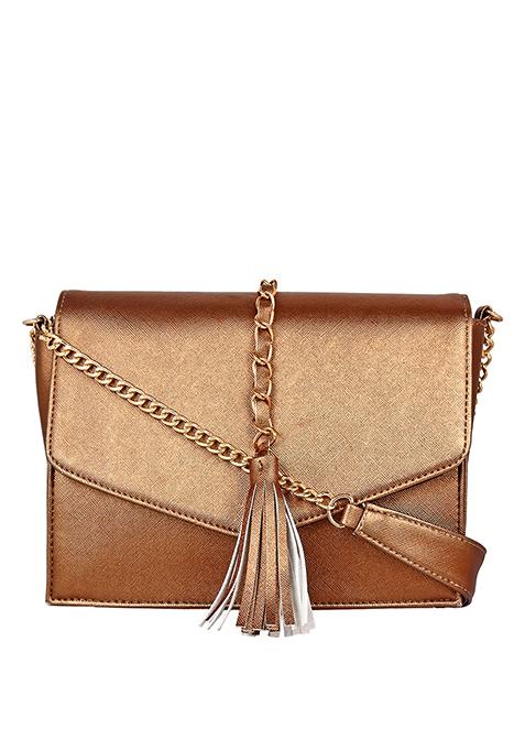 Tassel Sling Bag - Copper