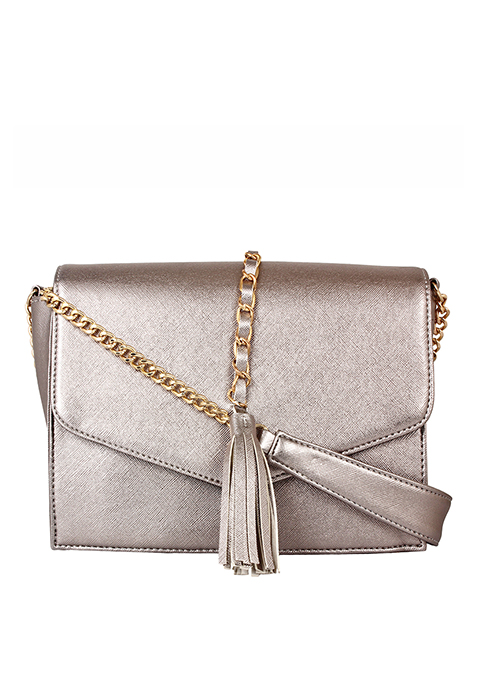 Tassel Sling Bag - Grey
