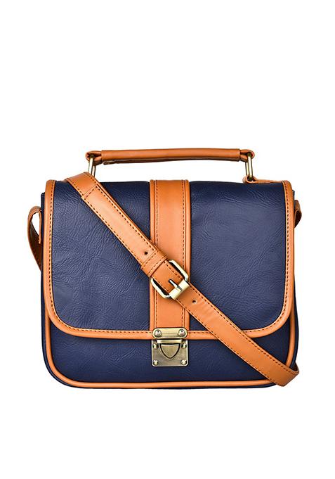 Buckled Cross Body Bag - Navy