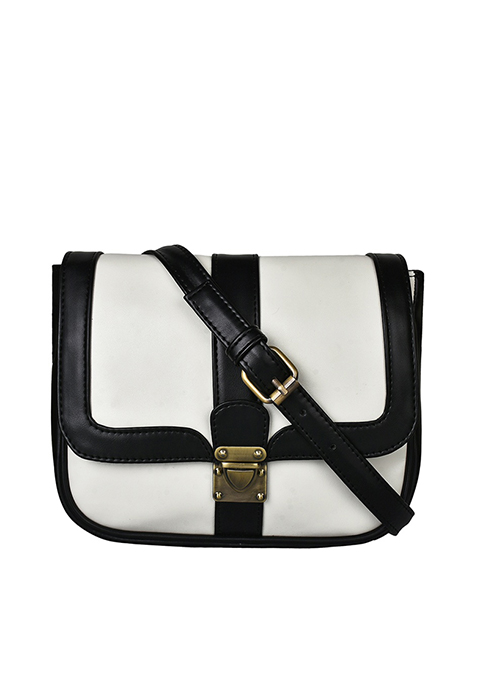 Buckled Cross Body Bag - White