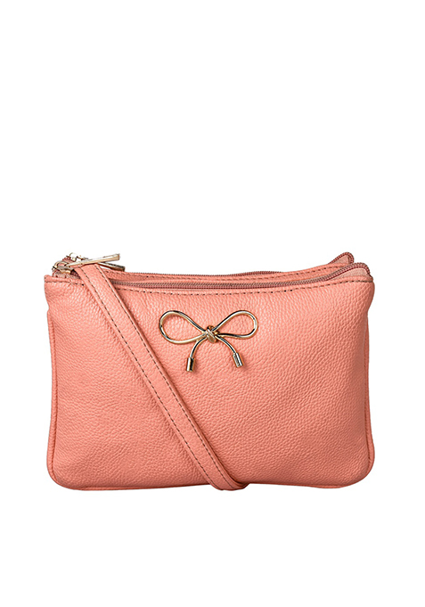 Three Pouch Sling Bag - Coral