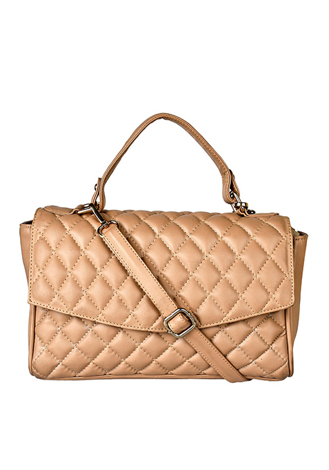 Quilted Cross Body Bag - Beige