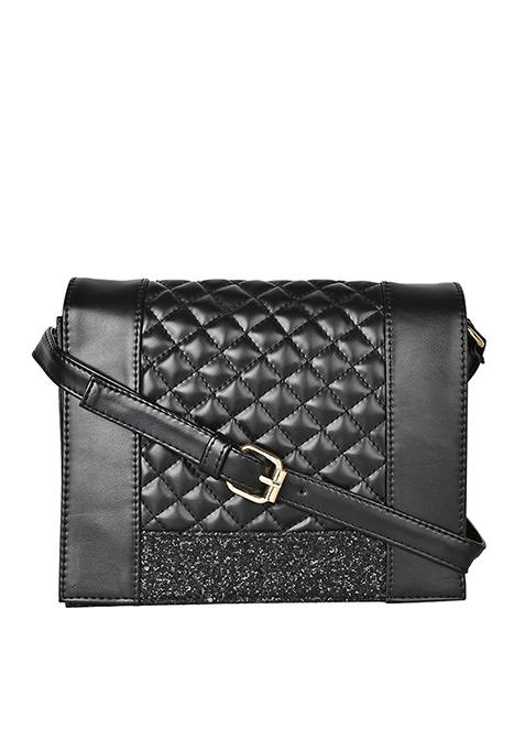 Sequin Patch Cross Body Bag - Black