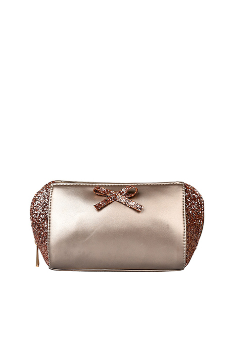Sequin Side Makeup Bag - Rose Gold