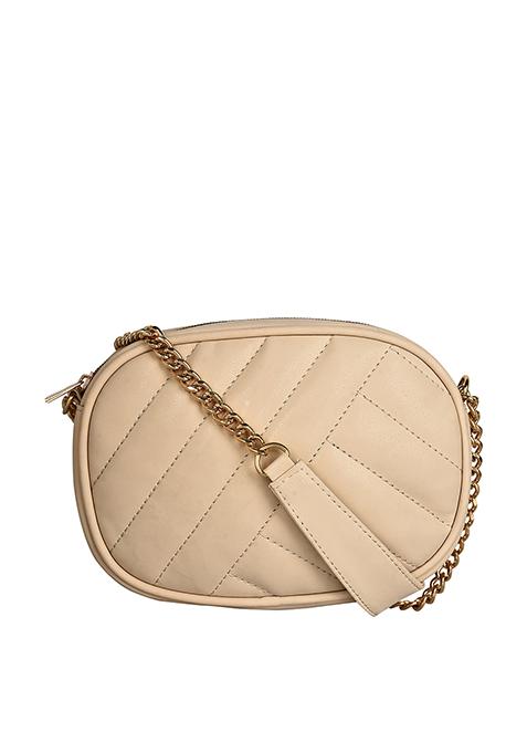 Quilted Oval Sling Bag - Beige