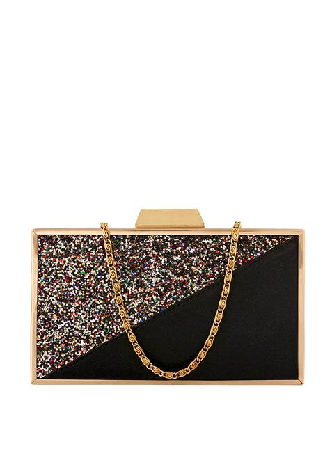 Half Glitter Boxy Clutch - Black