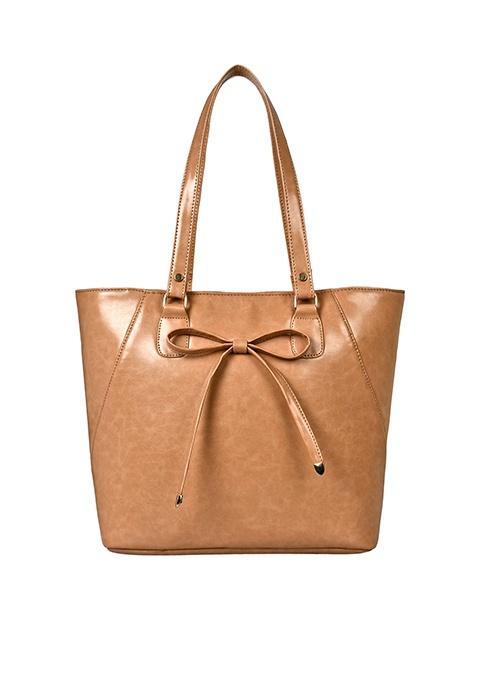 Shiny Bow Tote Bag - Beige