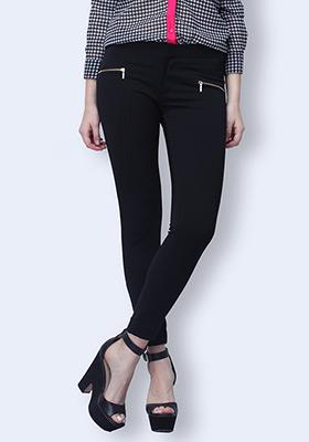 Zip Trip Cropped Pants - Black