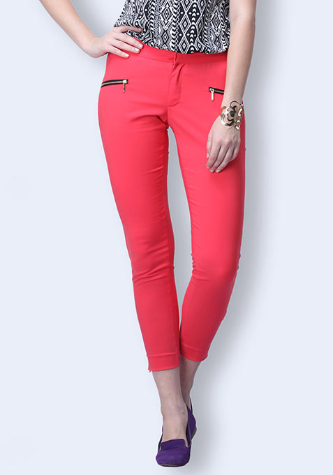 Zip Trip Cropped Pants - Coral