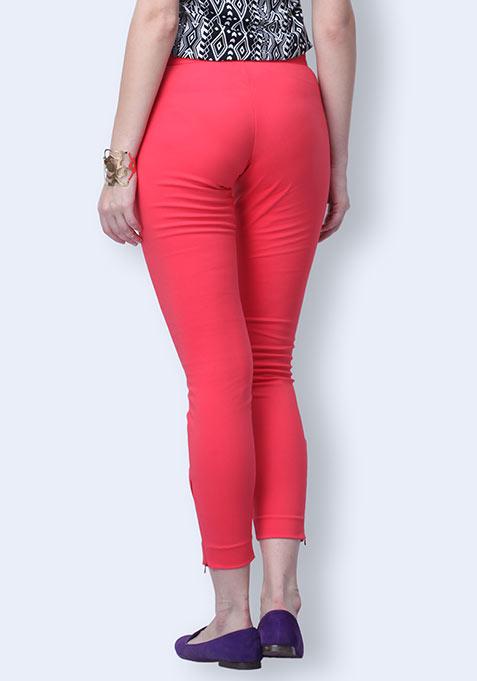 Zip Trip Cropped Pants - Coral