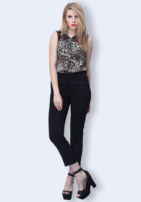 Fold Up Cropped Pants - Black